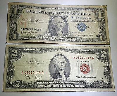 1963 U.S. Two Dollar Bill & US 1 Silver Certificate Antique Currency Collection