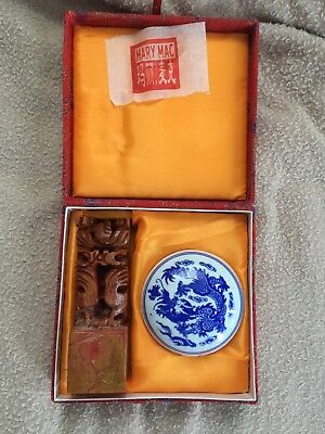 CHINESE Stamp Set Seal Carved Soap Stone Sign Red Ink Mary Mac