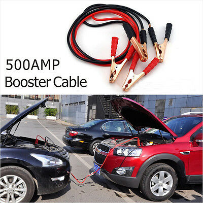 12V 500A Booster Leads Car Jump Start Cables Jumper Emergency Battery Clips Hot