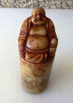 Unique Antique China Hand Carved Buddha Carving Shoushan Stone Seal Statue