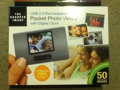 The Sharper Image USB 2.0 rechargeable pocket photo viewer with digital clock