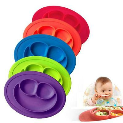 Silicone Mat Table Baby Kids One-piece Food Dish Tray Placemat Plate Bowl NEW L