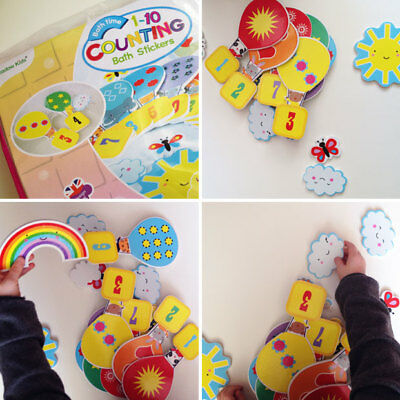 Bath Time Stickers Counting Numbers 123 Bath Toys Includes Storage Bag