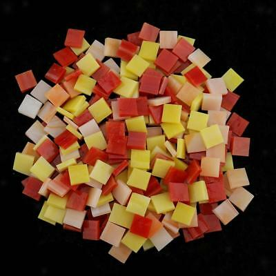 250x Vitreous Glass Mosaic Tiles Pieces for DIY Craft 10x10mm Red+Yellow