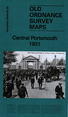 Old Ordnance Survey Map Central Portsmouth 1931 Landport Fratton Charles Dickens