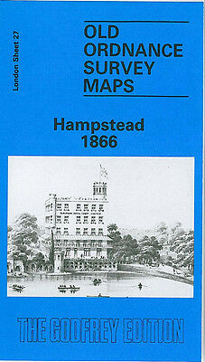Old Ordnance Survey Map Hampstead 1866 Finchley Road Parliament Hill Road