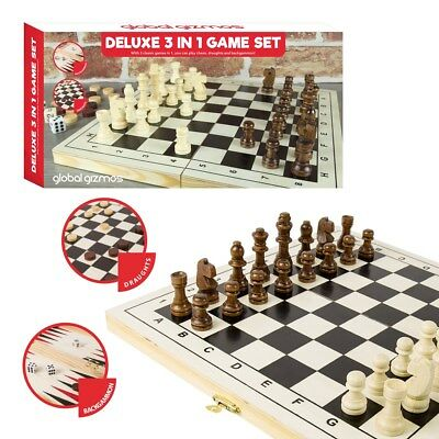 3 in 1 FOLDING WOODEN CHESS SET Board Game Checkers Backgammon Draughts