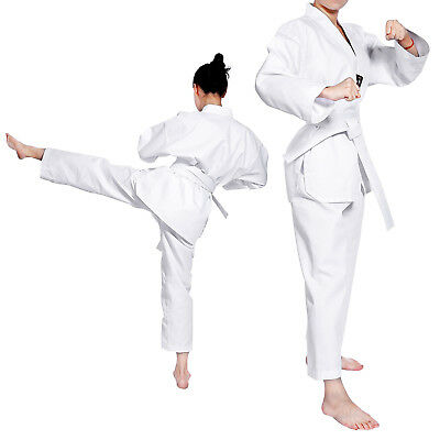 Kids Childrens V Neck Taekwondo Dobok Suit Uniform With White Belt Polycotton
