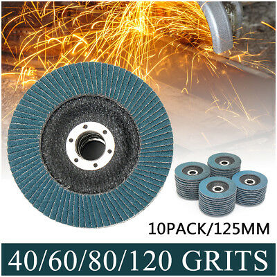 "10 PCS FLAP DISCS 125mm 5"" SANDING GRIT GRINDING WHEELS 40 60 80 120 16000RPM"