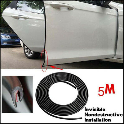5M Black Rubber Strip Car Door Scratch Protector Cover Edge Guard Moulding Trim