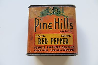 ANTIQUE ORIGINAL 1900'S Pine Hills RED PEPPER TIN CONTAINER,Schultz Brothers.vtg