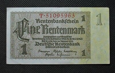 Old Bank Note Of Nazi Germany 1 Rentenmark 1937 Third Reich T51095963