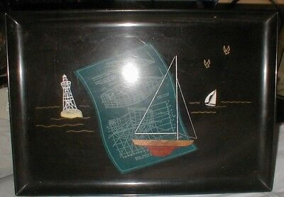 COUROC BLACK COCKTAIL SERVING TRAY ocean architect ship building map FINE INLAY
