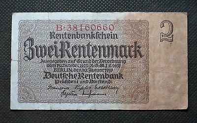 Old Bank Note Of Nazi Germany 2 Rentenmark 1937 Third Reich B38160660