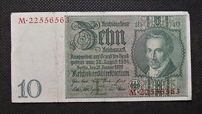 Old Bank Note Of Nazi Germany 10 Reichsmark 1929 Third Reich No. M22556563