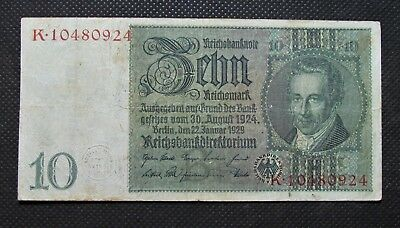 Old Bank Note Of Nazi Germany 10 Reichsmark 1929 Third Reich No. K10480924