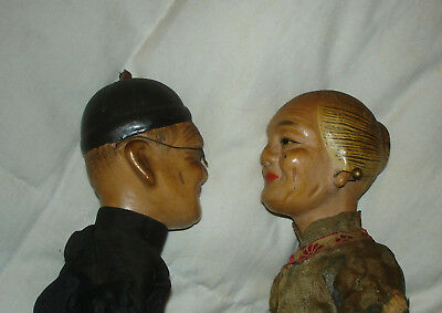 Vintage Antique Chinese Japanese Asian Composition Dolls Couple Pre 1940