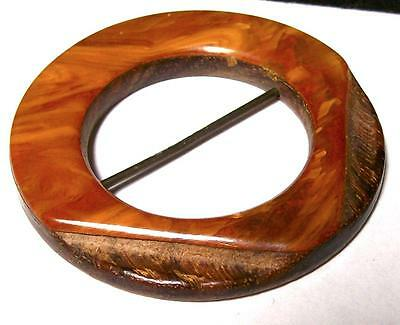 ART DECO WOOD & BAKELITE BUCKLE-TESTED-Estate