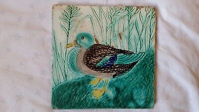 Antique Majolica Ceramic Tile By Geschutzt, Germany