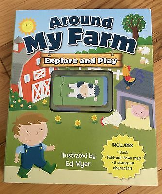 Around My Farm: Explore & Play Board Book, Fold Out Map, Characters -Ed Myer NEW