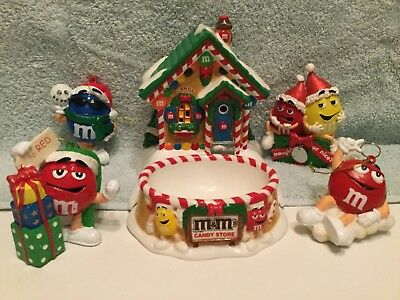 M & M candies collectibles, lighted candy dish and for hanging ornaments