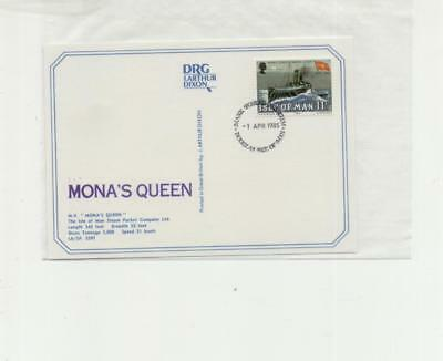 Isle of Man Steam packet 'Monas Queen' postcard, with ship cachet, 1985