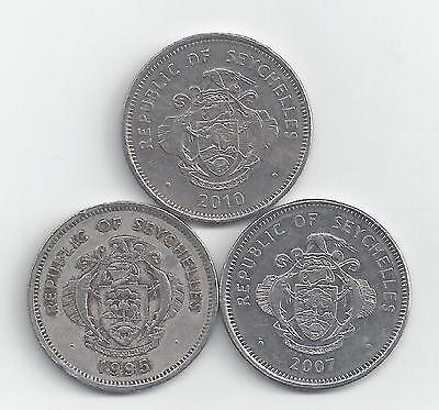 3 DIFFERENT 1 RUPEE COINS from SEYCHELLES (1995, 2007 & 2010)