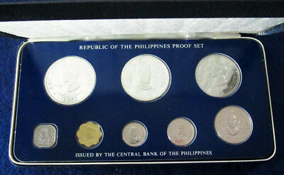 1975 Philippines 8 Coin Silver Proof Set - Case & COA - Free U S Shipping