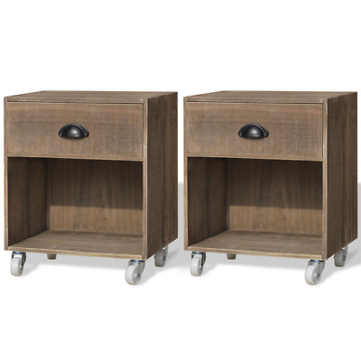 Set of 2 Solid Wood Nightstand Bedside Cabinet Telephone Stand End Table Pair