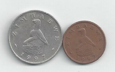 2 DIFFERENT COINS from ZIMBABWE - 1 & 20 CENTS (BOTH DATING 1997)