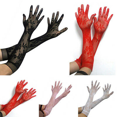 Women Sheer Mesh Lace Wedding Bridal Gloves Long Elbow Hollow Out Glove Mittens