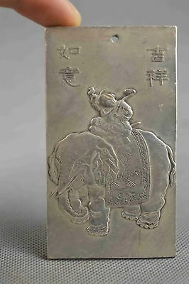 Collectable Handwork Decor Old Miao Silver Carve Child Ride Elephant Pendant