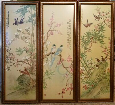 """3 Song Birds Cherry Blossom Trees Japanese Woodblock 38""""TL  Framed Signed Prints"""