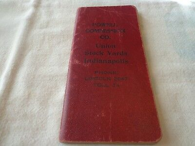 Vtg. 1934 Powell Commission Co. Union Stock Yards Indianapolis, In. Memo Book
