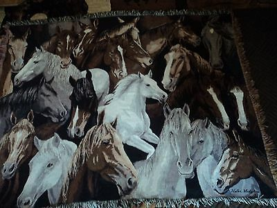 Horses.stallions.fillys.all Colors.by Artist Afghan/throw