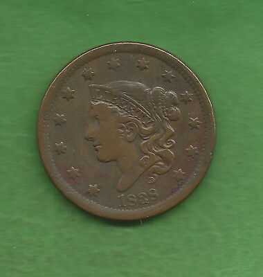 1838 Matron Head Modified, Large Cent - 179 Years Old!!!