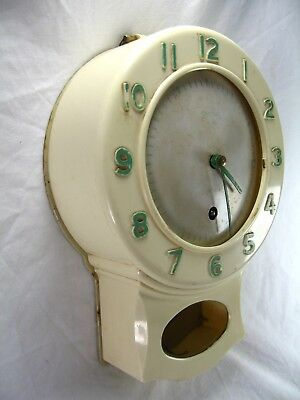 Vintage Mid Century Shop / Bar Wall Clock By Smiths White Bakelite Mechanical