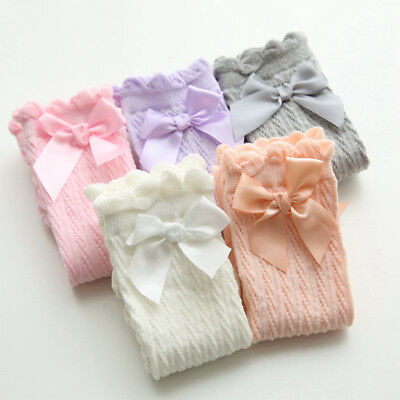 Toddler Kids Baby Girls Knee High Long Socks Lace Bow Cotton Casual Stockings AY