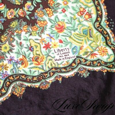 Vintage Liberty of London Made in England Chocolate Silk Floral Pocket Square NR