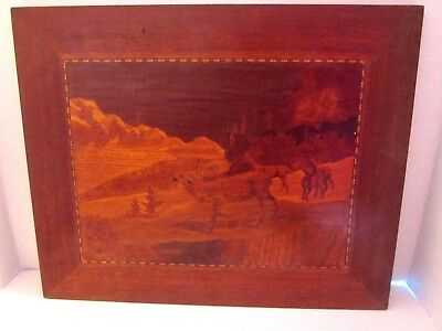 "Vintage Wood Inlaid hand made. Deer in fields mountains. Wall plaque. 13""x16"""