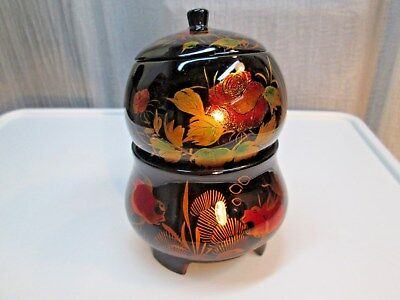M349U Vintage Asian Wood Lacquer Stacking Vanity 2 pc Trinket Bowl Set w lid