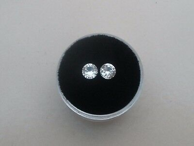 White Topaz Round Loose Faceted Natural Gem Pair 5mm