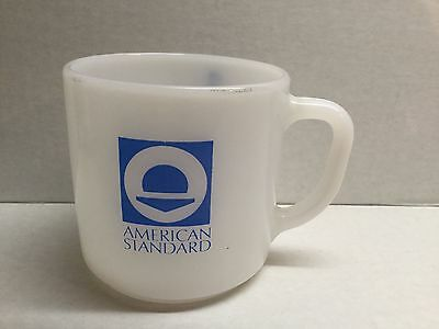 Vtg Federal White Milk Glass American Standard Mug Coffee Cup Plumber Advertise