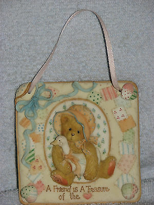 Enesco Cherished Teddies 1993 A Friend is A Treasure Of The Heart Plaque