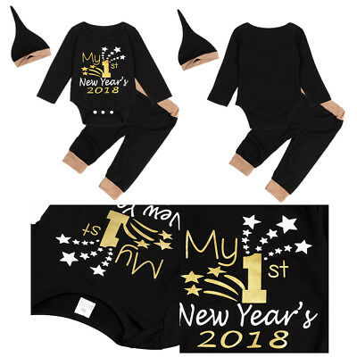 3PCS My 1st New Year Star Newborn Baby Girl Boy Clothes Romper Pants Hat Outfits