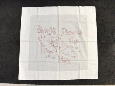 VINTAGE Red Embroidered PILLOW SHAM COVER 'Bright Dawns The Day' Child's
