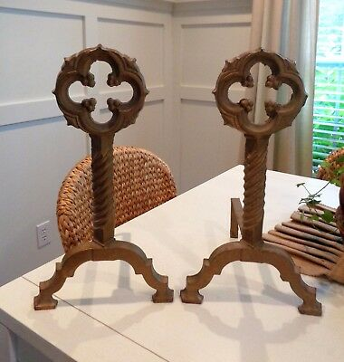Arts Crafts Antique Andirons Firedogs Fireplace Log Holders Gothic Mission