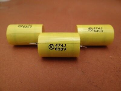 10 x 0.47 uF / 630 VOLT POLYESTER AXIAL CAPACITOR * NEW STOCK * 5% TOL. *