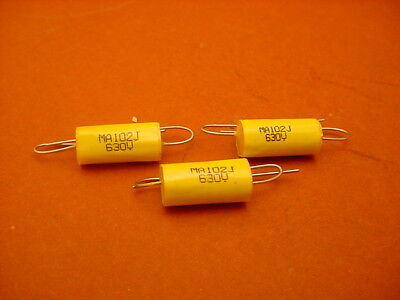 20 x 0.001 uF / 630 VOLT POLYESTER AXIAL CAPACITOR * NEW STOCK * 5% TOL. *