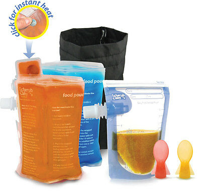 Cherub Baby Pouch Starter Kit: 50x Food Pouches, Pouch Warmer & Cooler, 2 Spoons